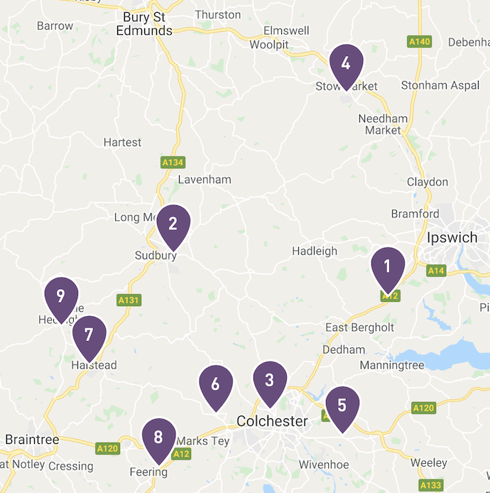 Screen grab from Nectar website of Esso stations around Hadleigh where you can collect points