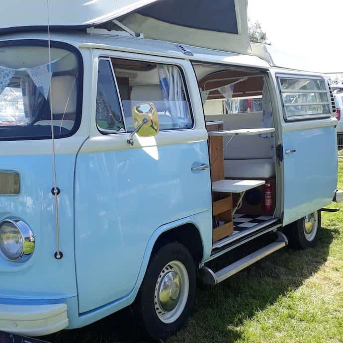 Picture of a blue VW camper van for my post on how to save on breakdown cover AA vs RAC