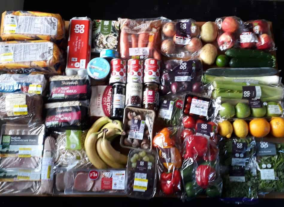 Picture of the food shopping bought using Co-op gift vouchers, dividends and money off voucher