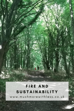 Pinterest size image of a green woodland walk for my post on FIRE and sustainability