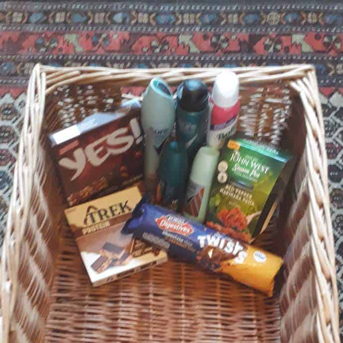 Picture of items I've got for free from Shopmium for my reverse advent calendar