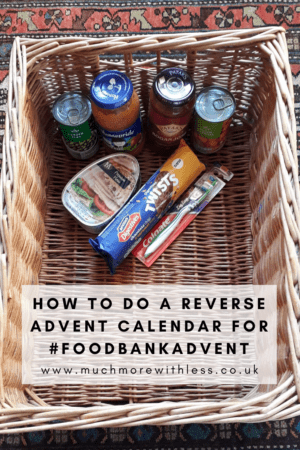 Pinterest size image of foodbankadvent hamper for a reverse advent calendar