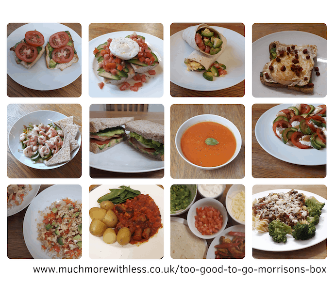 Collage of 12 photos of breakfasts, lunches and dinners from Too Good To Go box