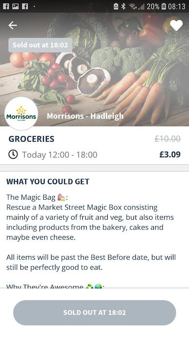 Screen grab of Morrisons on Too Good To Go app