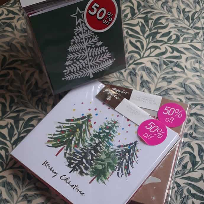 Picture of the Christmas tree cards I bought with 50% off in the Paperchase sale