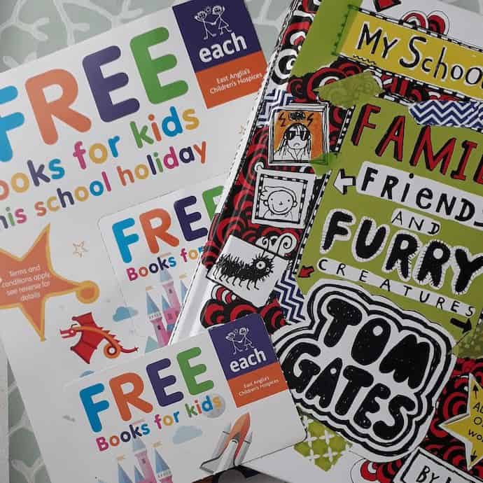 Picture of the EACH flier about free books and the book my daughter chose