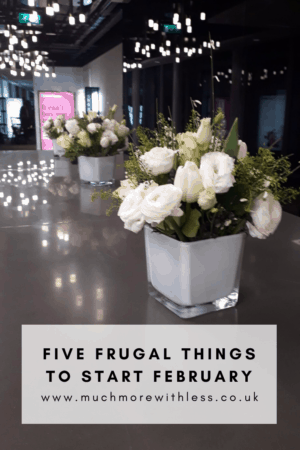Pinterest size image of flowers at the Times Money Mentor party, for my post on five frugal things to start February