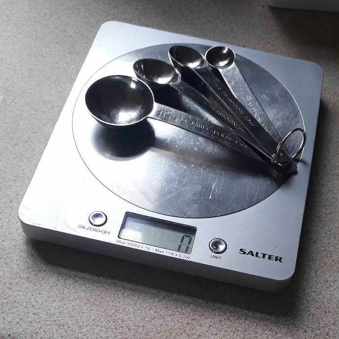 Picture of my Salter digital kitchen scales and metal measuring spoons