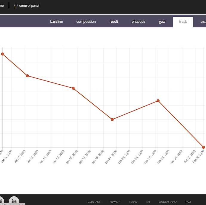 Screen grab of the Boditrax weight tracking graph