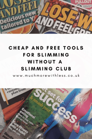 Pinterest sized image of slimming club magazine and newspaper pullouts for my post on slimming without a slimming club