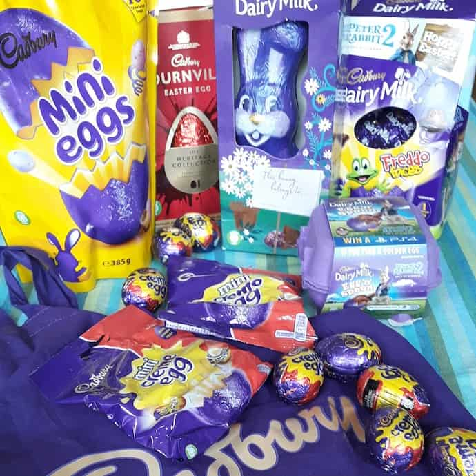 Picture of a pile of Cadbury Easter products
