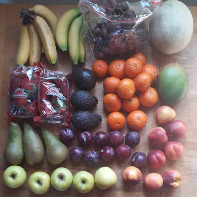 Picture of lots of fruit from our delivery, for my post about my lockdown spending diary