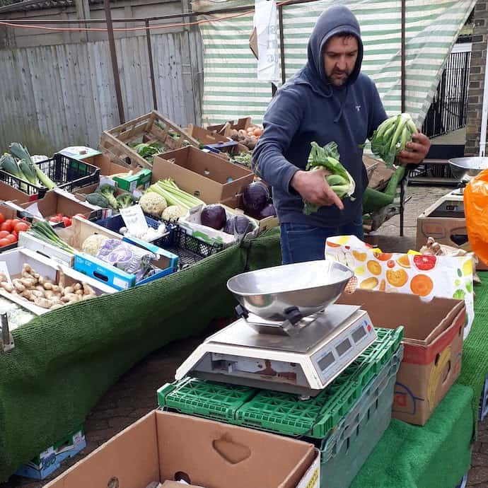 Picture of Carl and his fruit and veg stall
