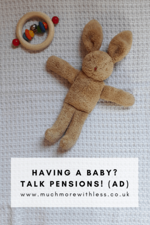 Pinterest size image of baby toys for my post about pensions and having a baby