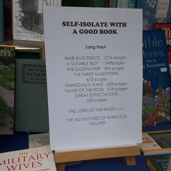 Poster listing good books for self-isolation