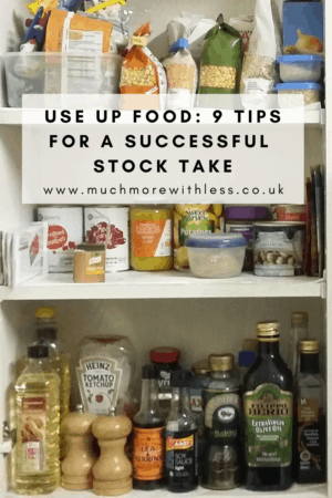 Pinterest size image of cupboard contents for my post with tips for a successful stock take