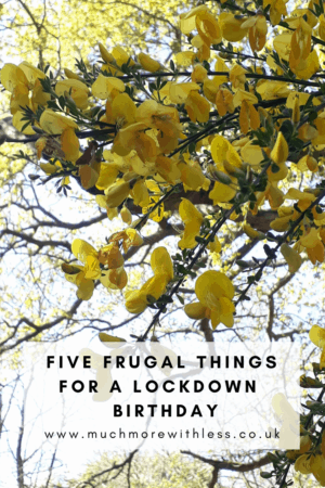 Pinterest size image of gorse for my post with five frugal things for a lockdown birthday