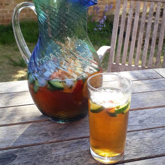 Large jug of Pimms and lemonade