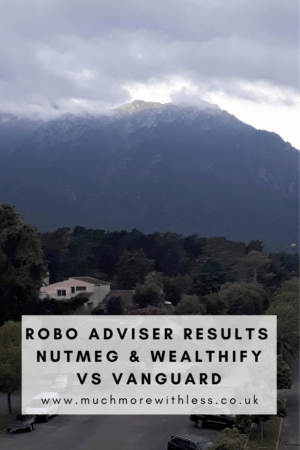 Pinterest size image of mountain and storm clouds for my post on robo adviser results comparing Nutmeg, Wealthify and Vanguard