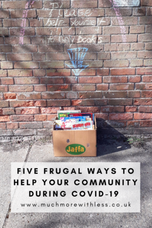 Pinterest size image of box of books for my post on five frugal ways to help your community during COVID-19