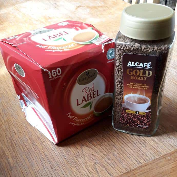 Picture of tea bags and instant coffee from my Aldi food parcel, to be given to our local food bank