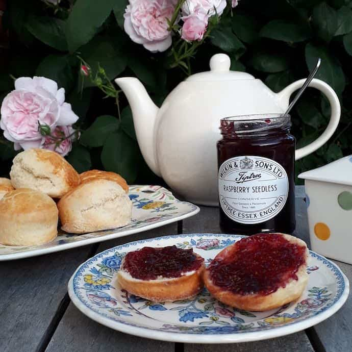 Picture of scones with jam and cream and our teapot
