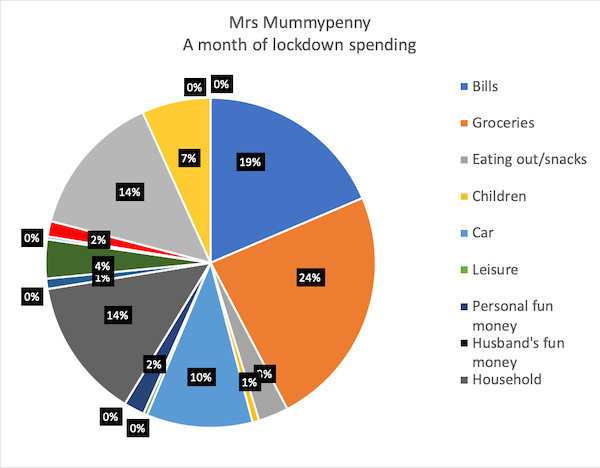 Pie chart showing how Mrs Mummypenny's spending split during a month of lockdown