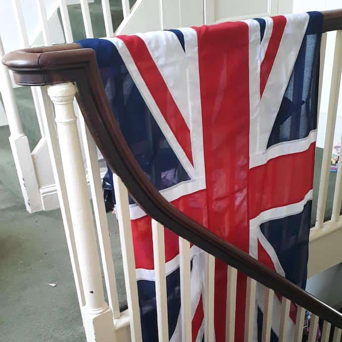 Picture of the Union Jack flag we were given as a wedding present
