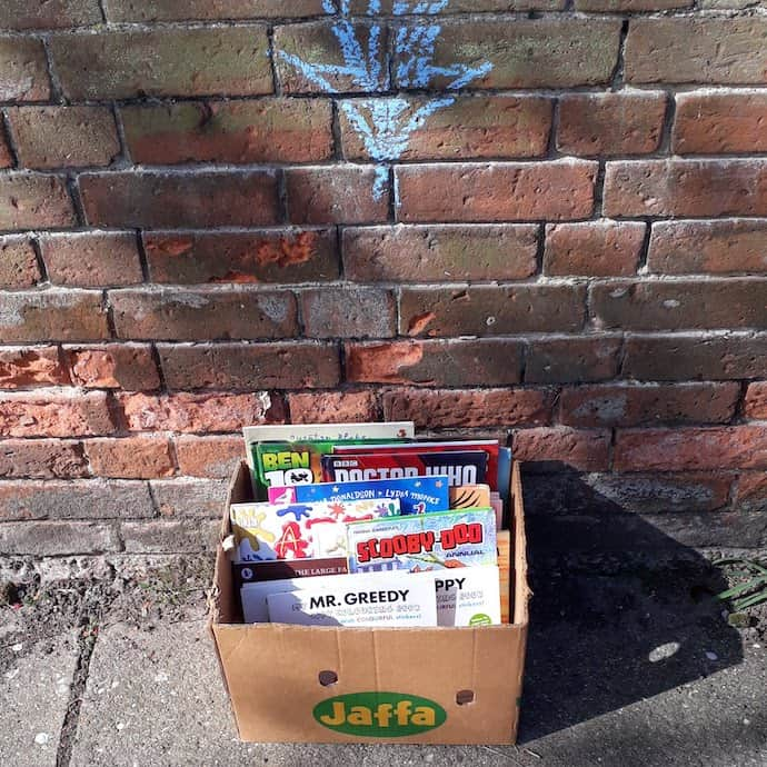 Box of books we put outside our house for people to help themselves