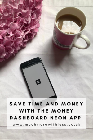 Pinterest size image of Money Dashboard Neon app with cup of tea and flowers