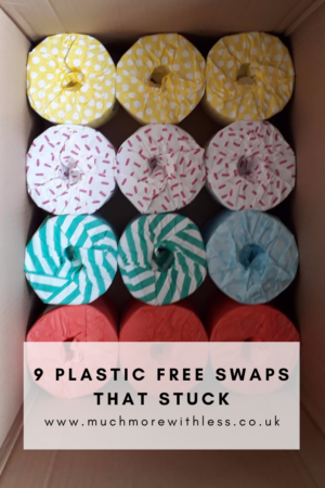 Pinterest size image of colourful paper wrapped loo rolls for my post on plastic free swaps that stuck