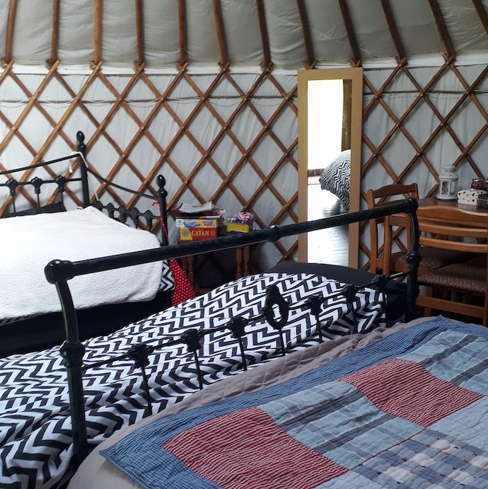 Picture of the three beds in our 6 person yurt