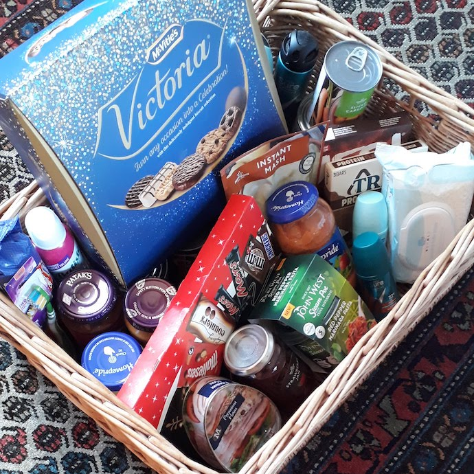 Picture of a hamper with items for a food bank