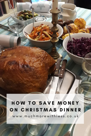Pinterest size pic of turkey and veg for my post on how to save money on Christmas dinner
