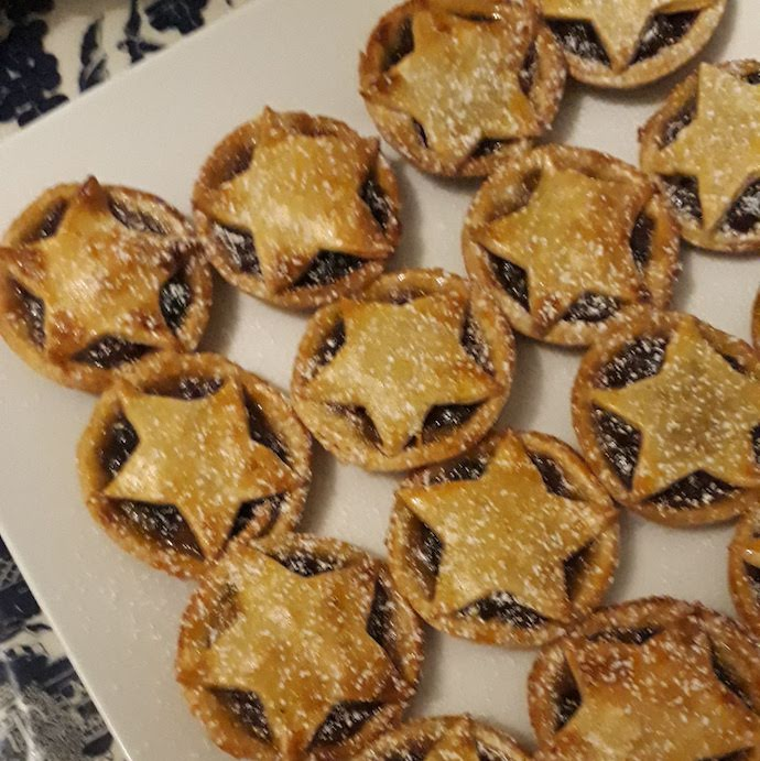 Pic of home made mince pies with star shaped pastry tops