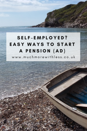 Pinterest size image of a rowing boat on a beach for my post on easy ways to start pension if you are self-employed