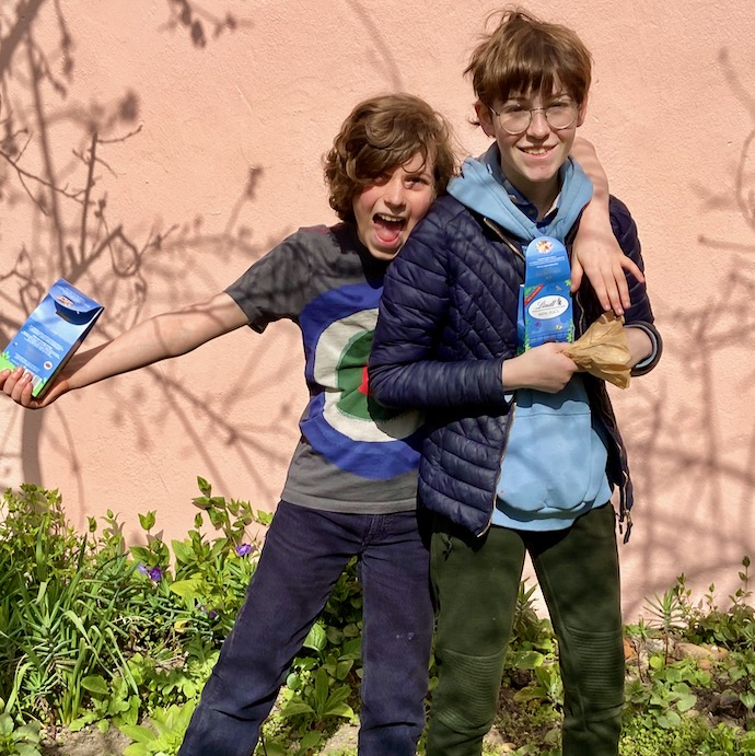 Picture of my two children with their spoils from the Easter egg hunt