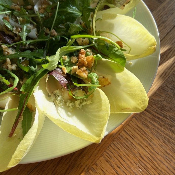 Picture of chicory, walnut, salad leaves and blue cheese lunch