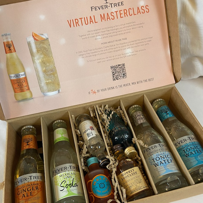 Pic of a box of drinks and mixers for a Zoom cocktail masterclass