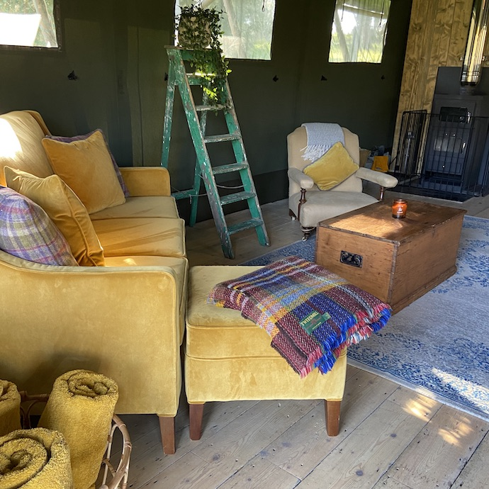 Picture of the inside of our safari tent at The Lost Garden Retreat