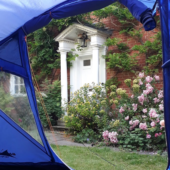 Picture of our front door, from a tent in the garden during lockdown