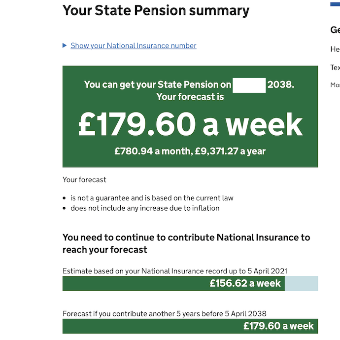 Screen grab of my State Pension forecast on GOV.UK