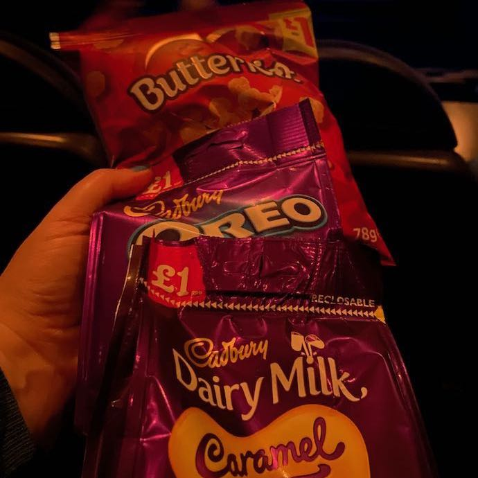 Picture of the £1 a bag snacks bought before going to the cinema