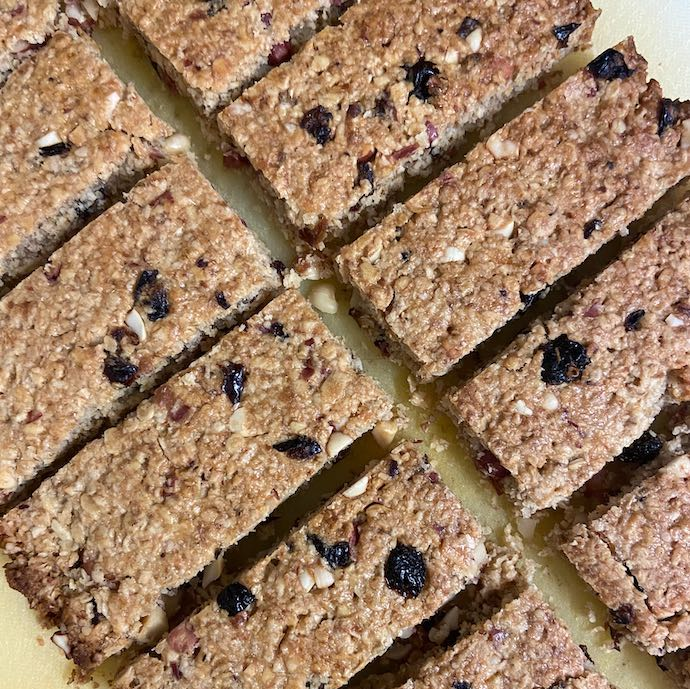 Picture of the home made nutty raisin bars when the budget didn't stretch to snacks